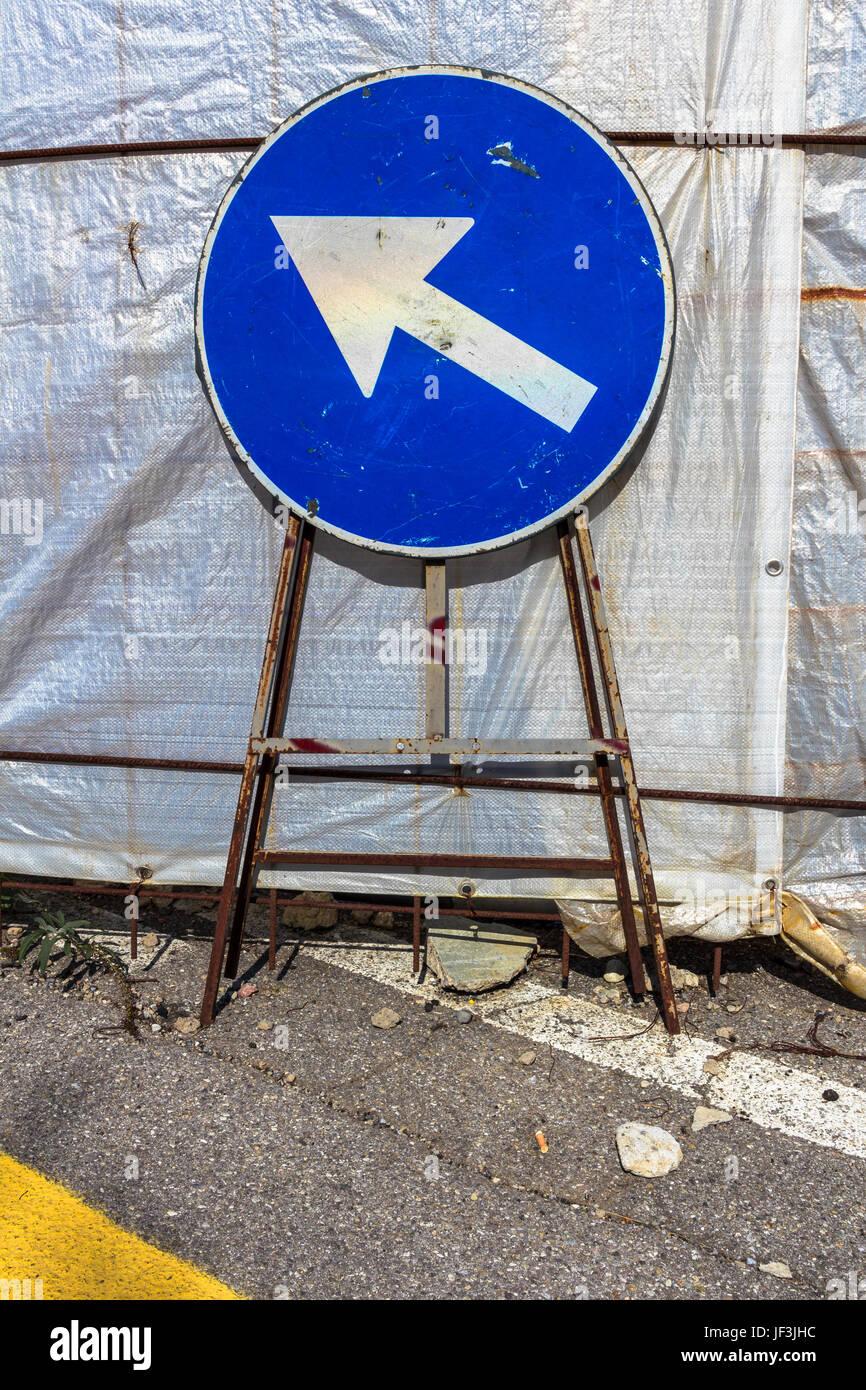 Mandatory direction sign - Stock Image