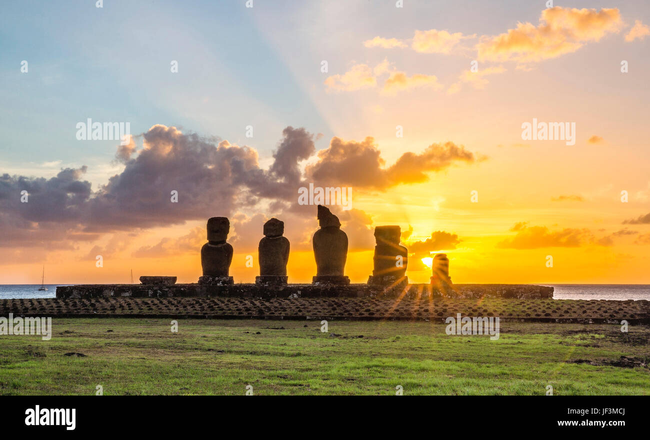Ahu Tahai, Easter Island, Chile Stock Photo