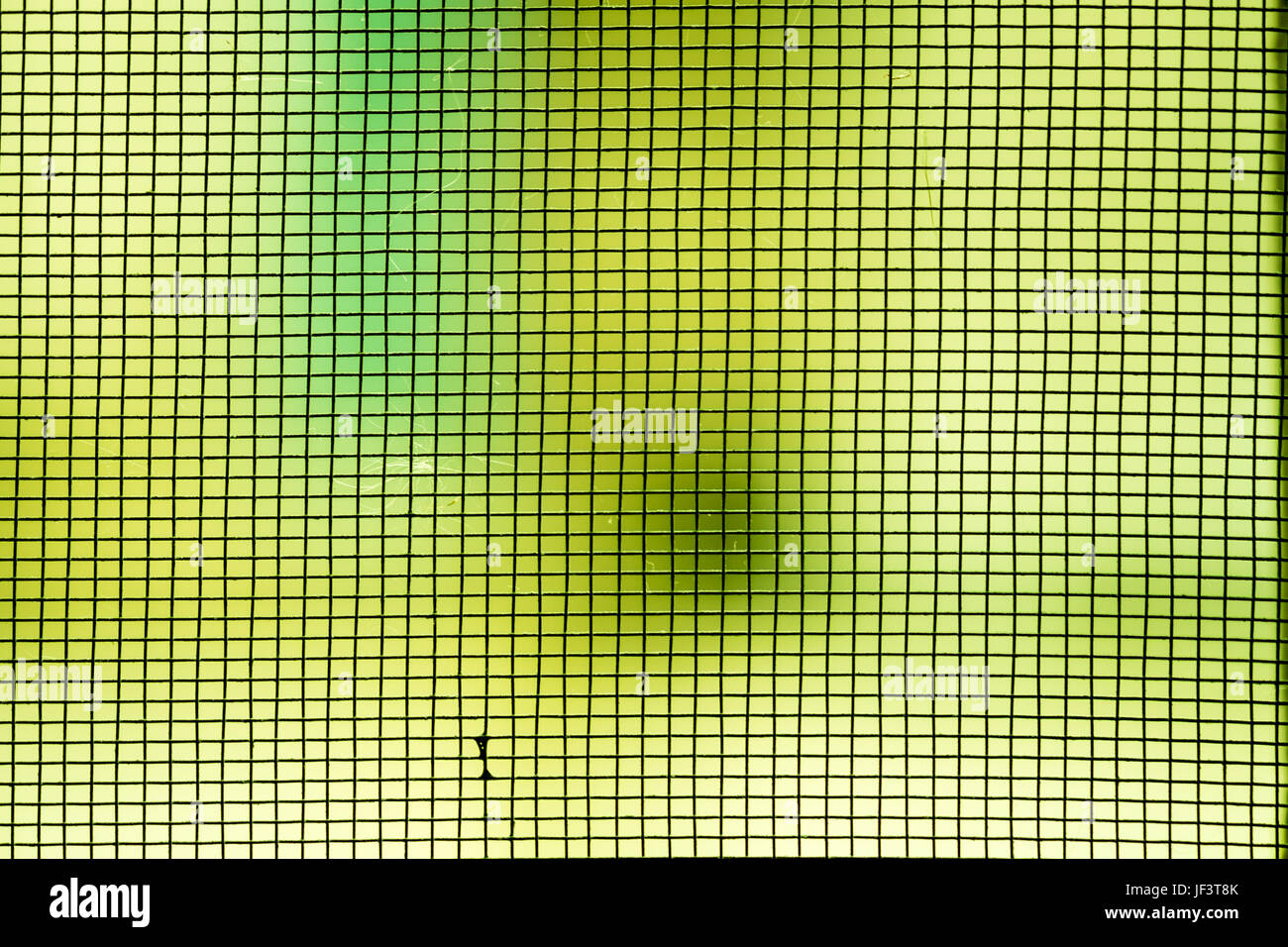 Abstract photo blurred of mosquito wire screen,grid closeup on green background. - Stock Image