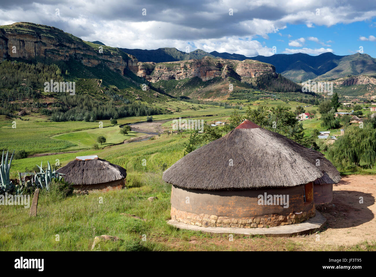 Landscape hlotse river valley with thatched rondavel houses leribe district lesotho southern africa stock image