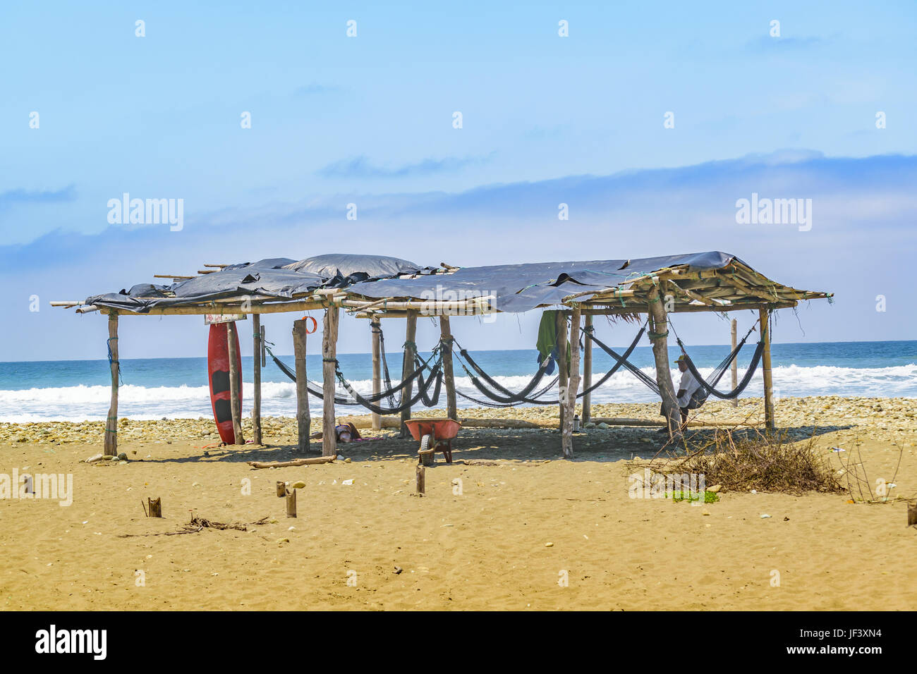 Rustic Hut at Beach Santa Elena Ecuador - Stock Image