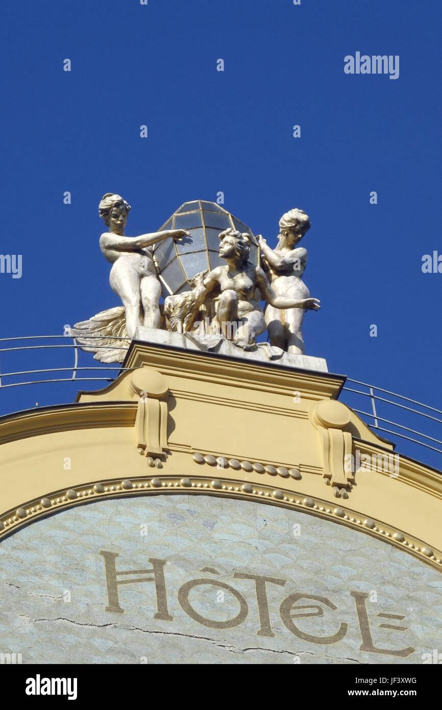 prague hotel facade grand hotel europa - Stock Image