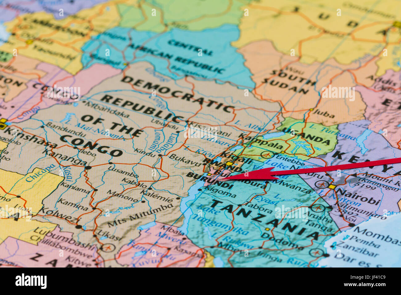 Photo of Burundi. Country indicated by red arrow. Country on African continent. - Stock Image