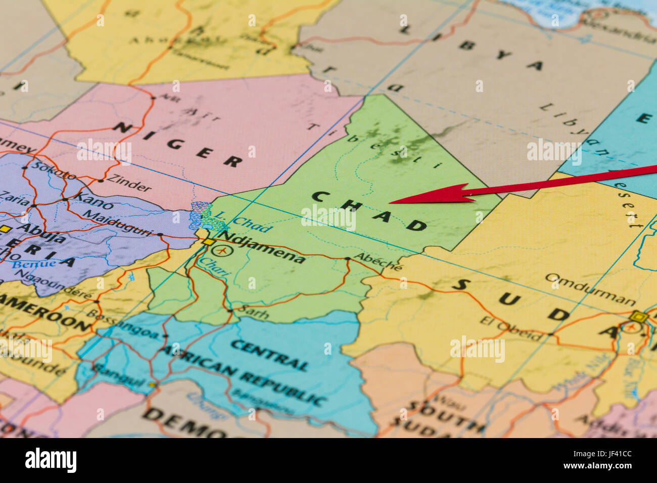 Photo of Chad. Country indicated by red arrow. Country on African continent. - Stock Image