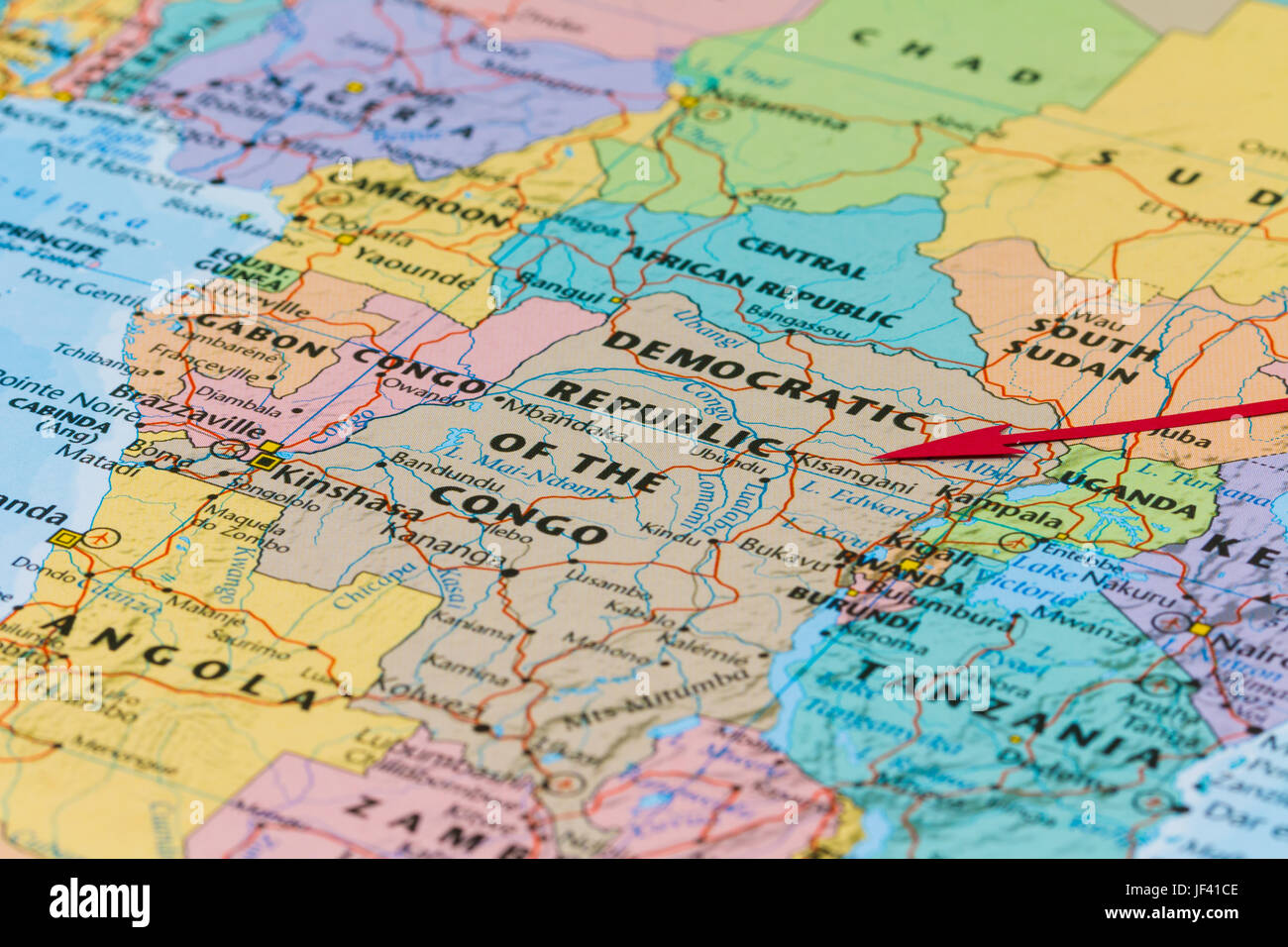 on democratic republic congo map