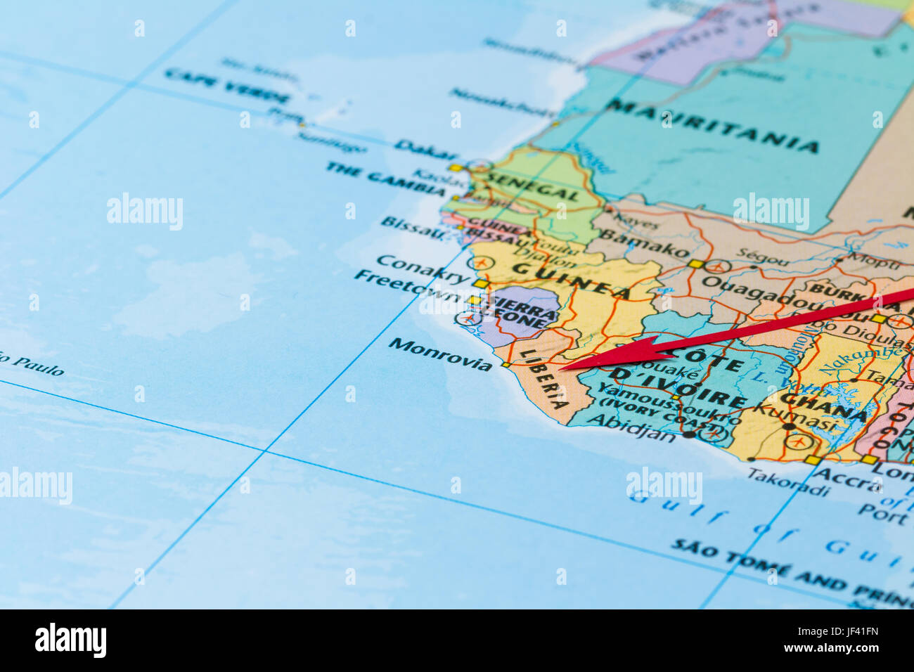 Photo of Liberia. Country indicated by red arrow. Country on African continent. - Stock Image