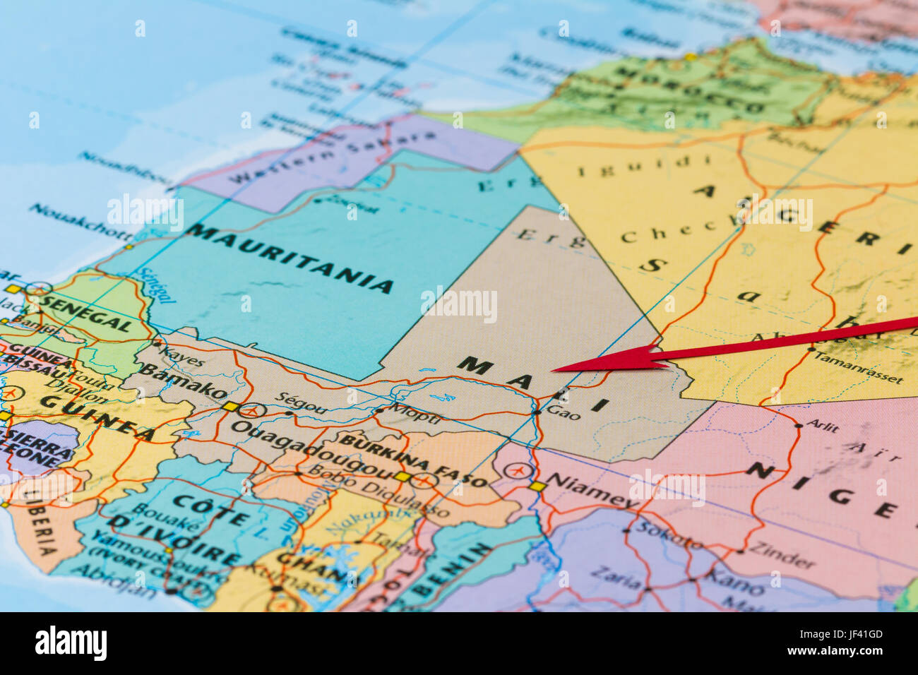 Photo Of Mali Country Indicated By Red Arrow Country On African Stock Photo Alamy
