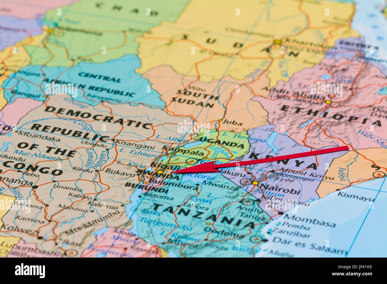 Photo of Rwanda. Country indicated by red arrow. Country on African continent. - Stock Image