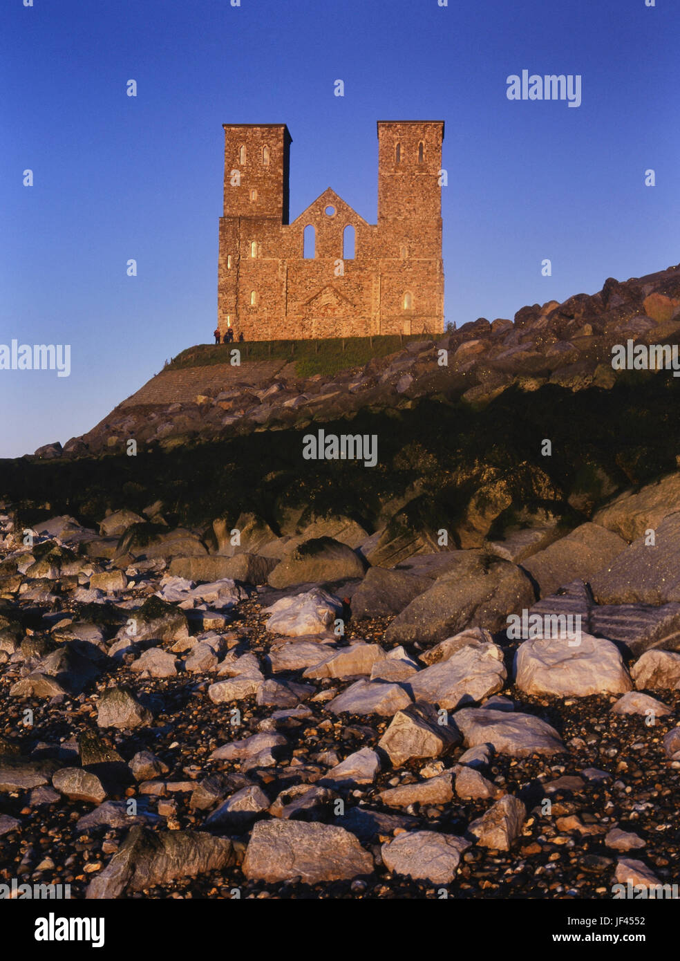 12th-century towers of the former monastic church, Reculver Towers and Roman Fort, Kent, England, UK - Stock Image