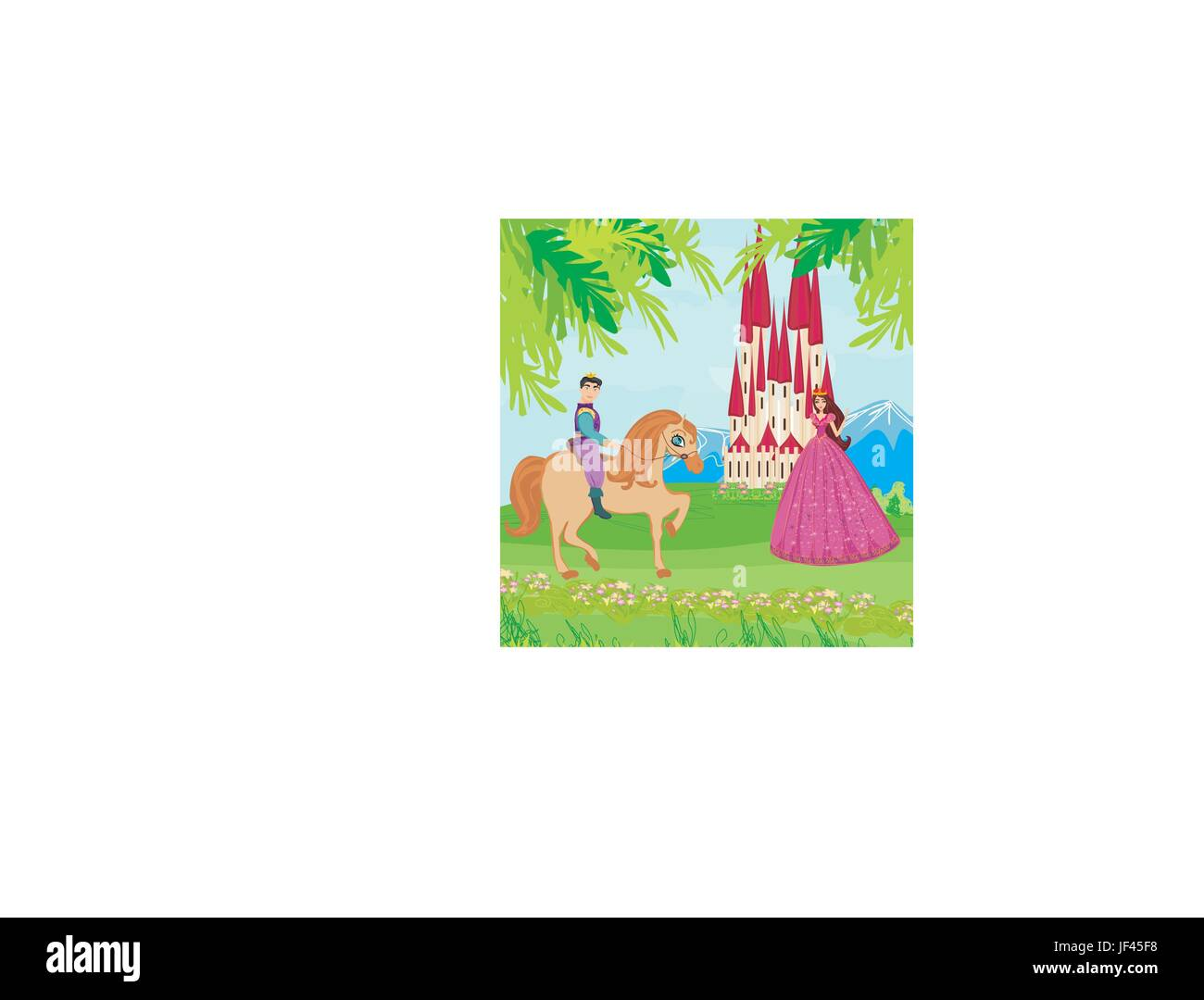 woman, tower, hand, beautiful, beauteously, nice, lady, female, hill, horse, - Stock Vector