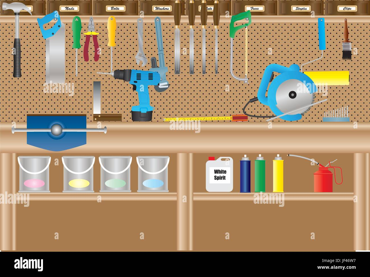 graphic, wood, illustration, saw, workbench, circular saw, vector, carpentry, Stock Vector