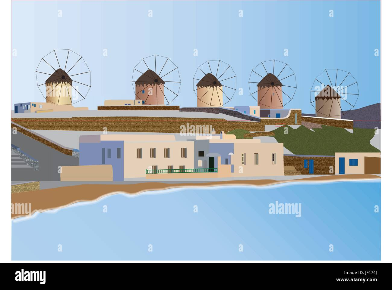 blue, greece, summer, summerly, style of construction, architecture, - Stock Vector