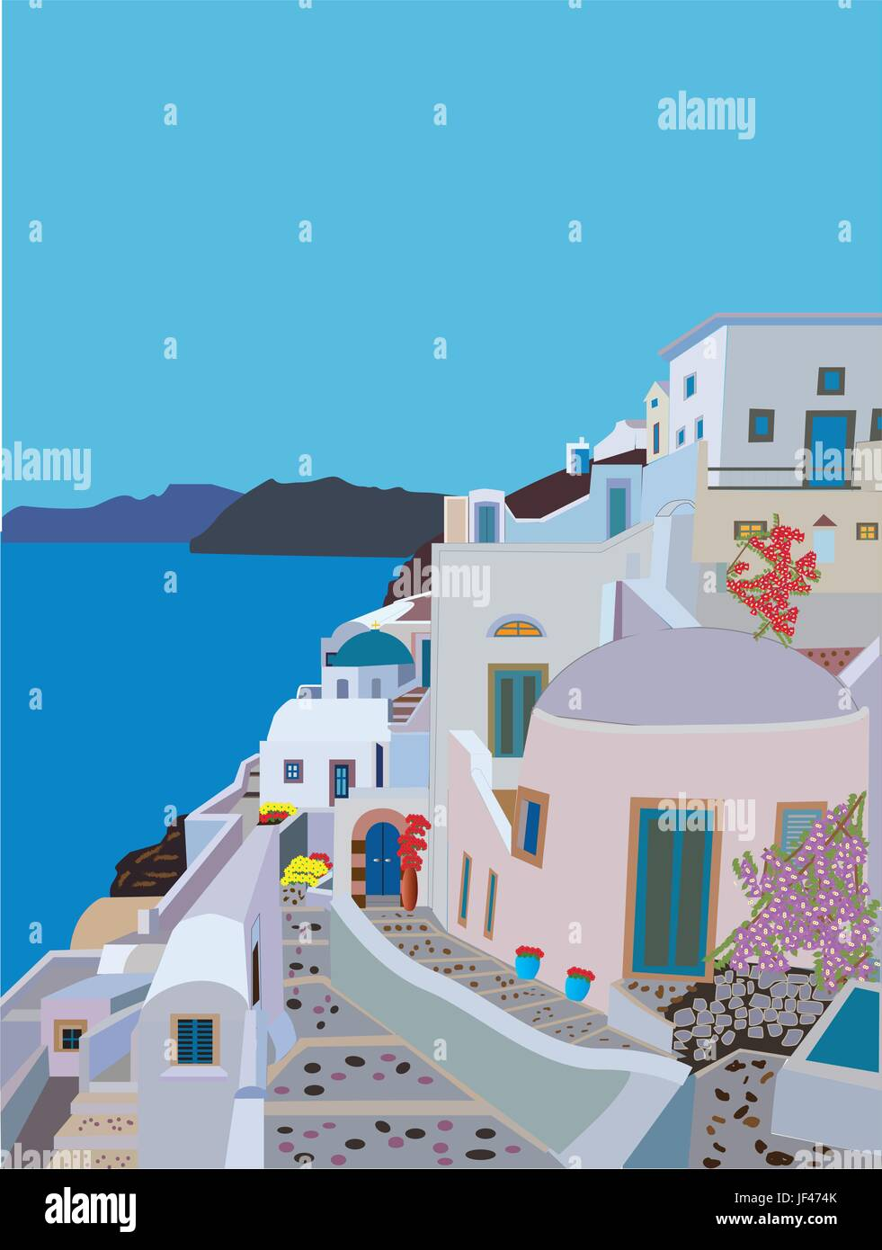 blue, travel, greece, summer, summerly, water, mediterranean, salt water, sea, - Stock Vector