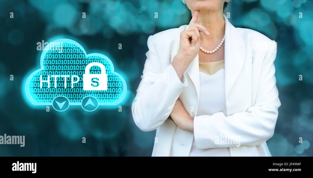 HTTPS - security in the internet concept. Senior businesswoman silhouette in bacground. - Stock Image