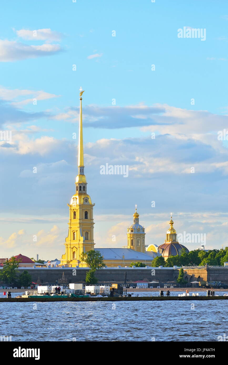 Peter and Paul fortress from Neva river on a summer evening in Saint-Petersburg. - Stock Image