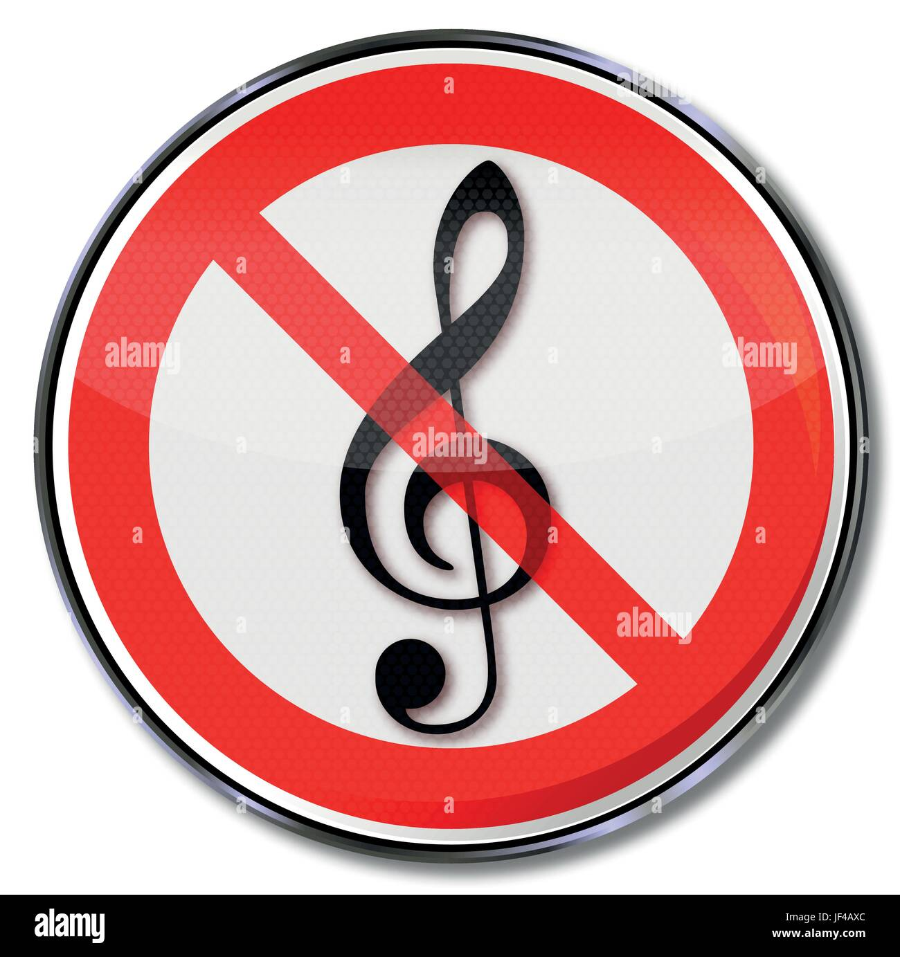 prohibition sign for music - Stock Image