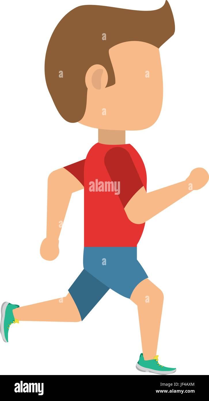 Man running cartoon - Stock Image