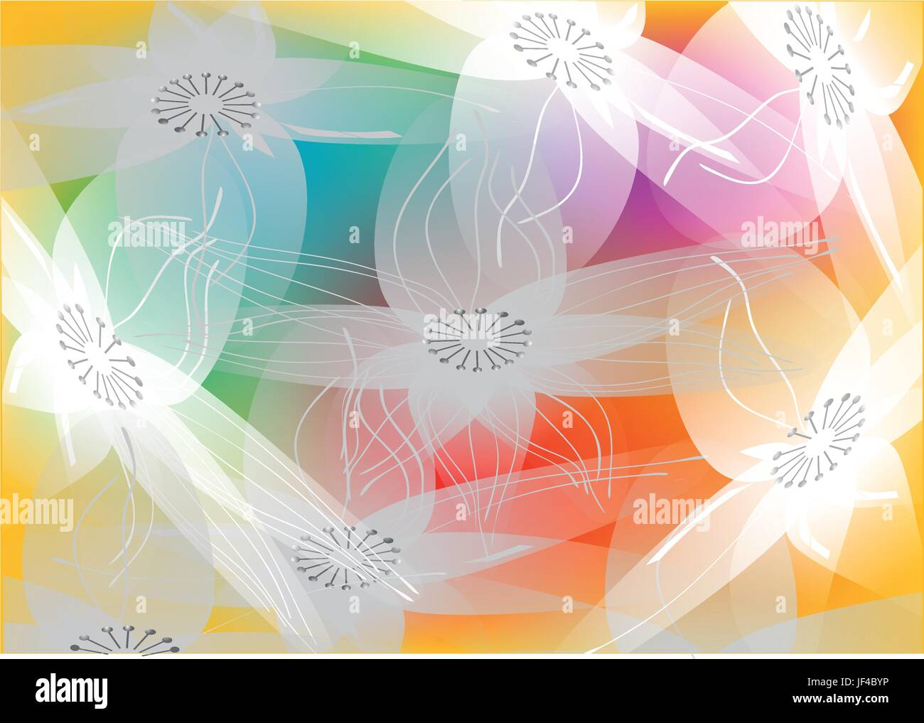 flower, plant, summer, summerly, illustration, shape, ornate, decoration, - Stock Vector