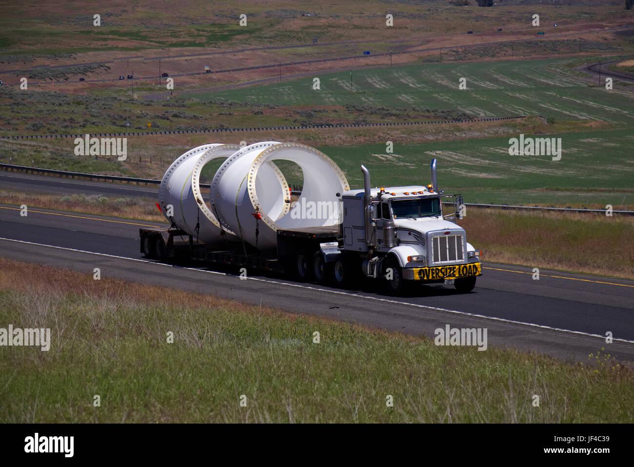 Oversize Load / White Semi-Truck - Stock Image