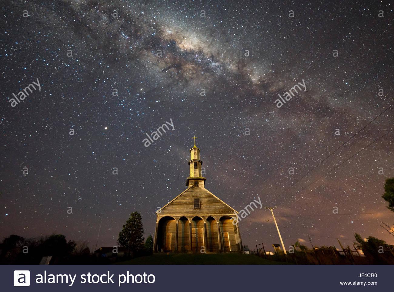 Chiloé Churches / Chiloé Island. Iglesia de Vilupulli Stock Photo