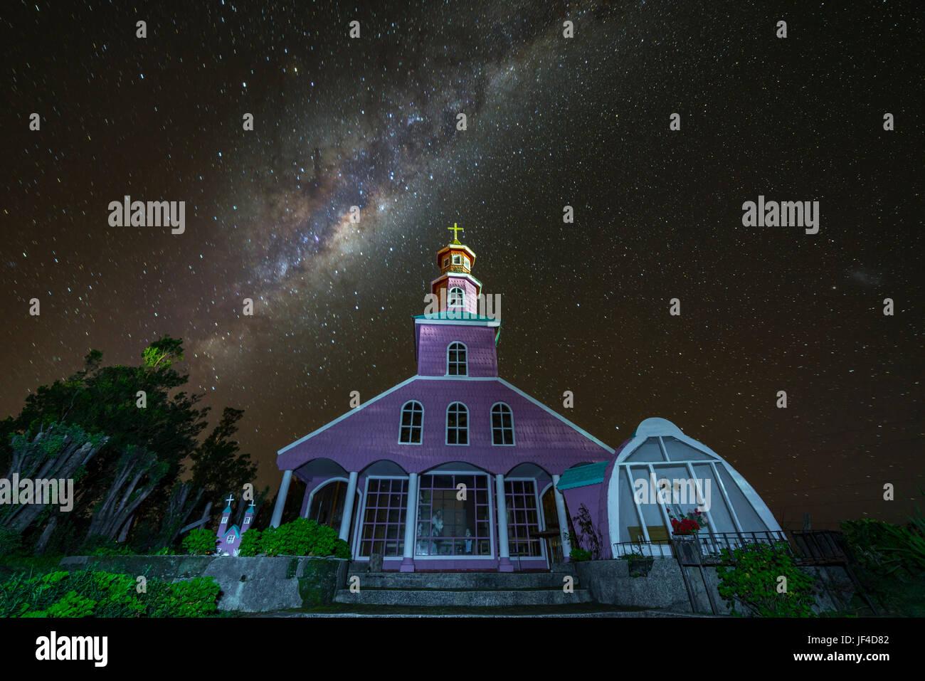 Chiloé Churches / Chiloé Island. Iglesia de Chacao en la isla grande de Chiloé. Stock Photo