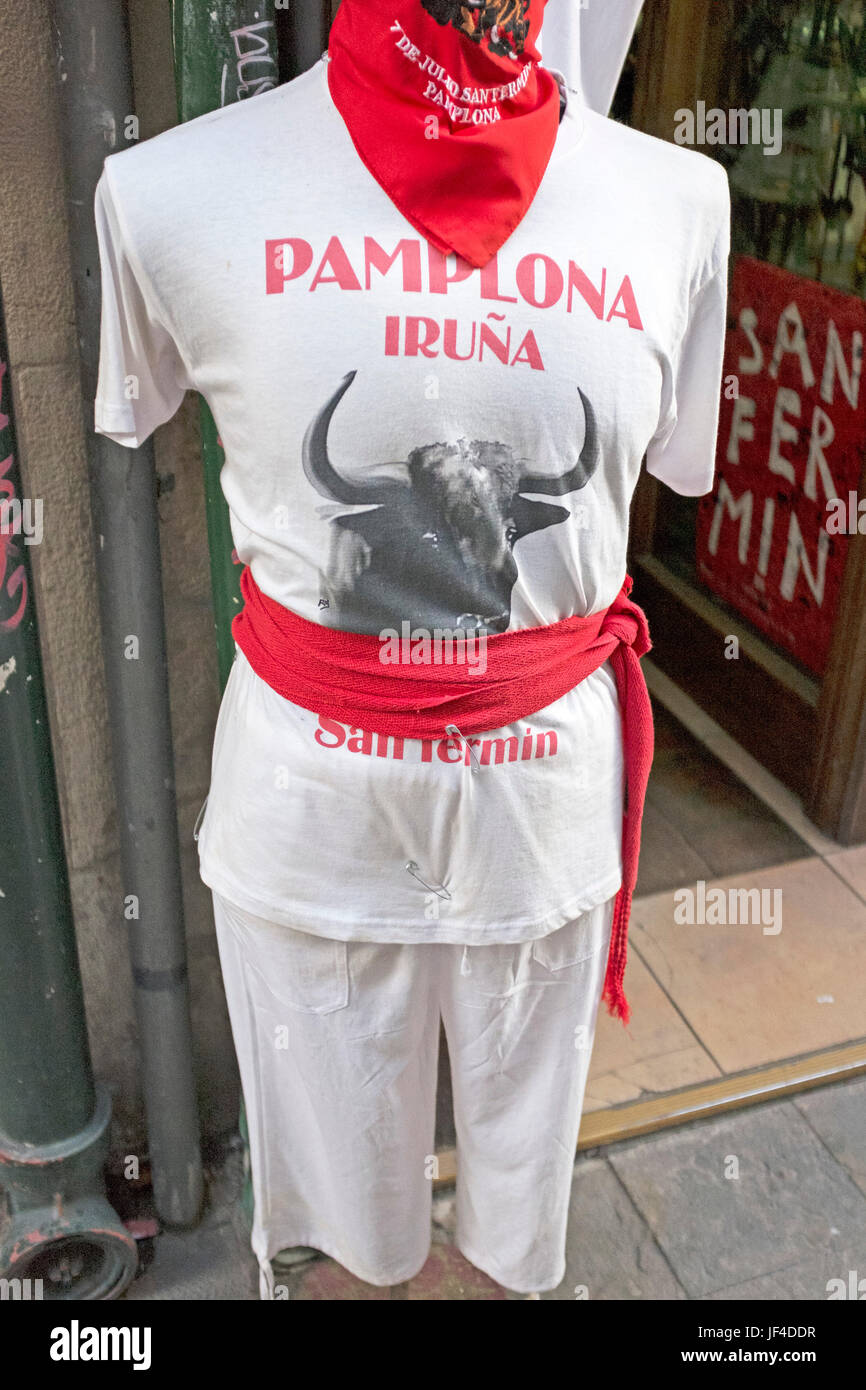 Mannequin dressed in the traditional outfit for participants in the annual Running of the Bulls San Fermin Festival Stock Photo