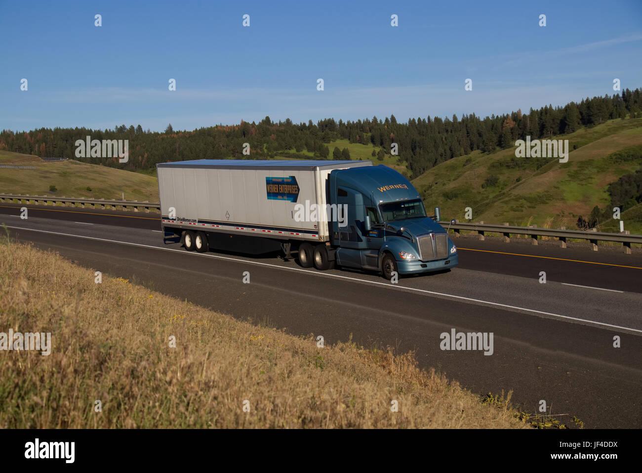 Werner Transportation / Blue Kenworth - Stock Image