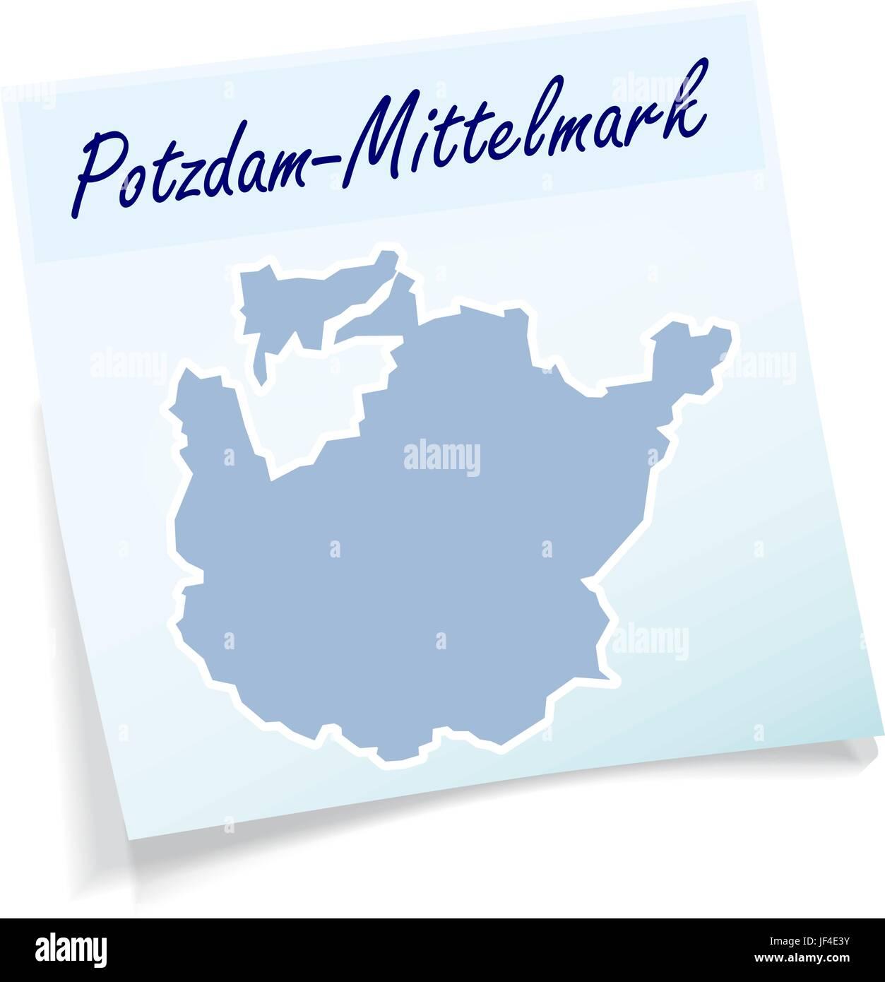 potsdam-mittelmark as sticky notes - Stock Vector