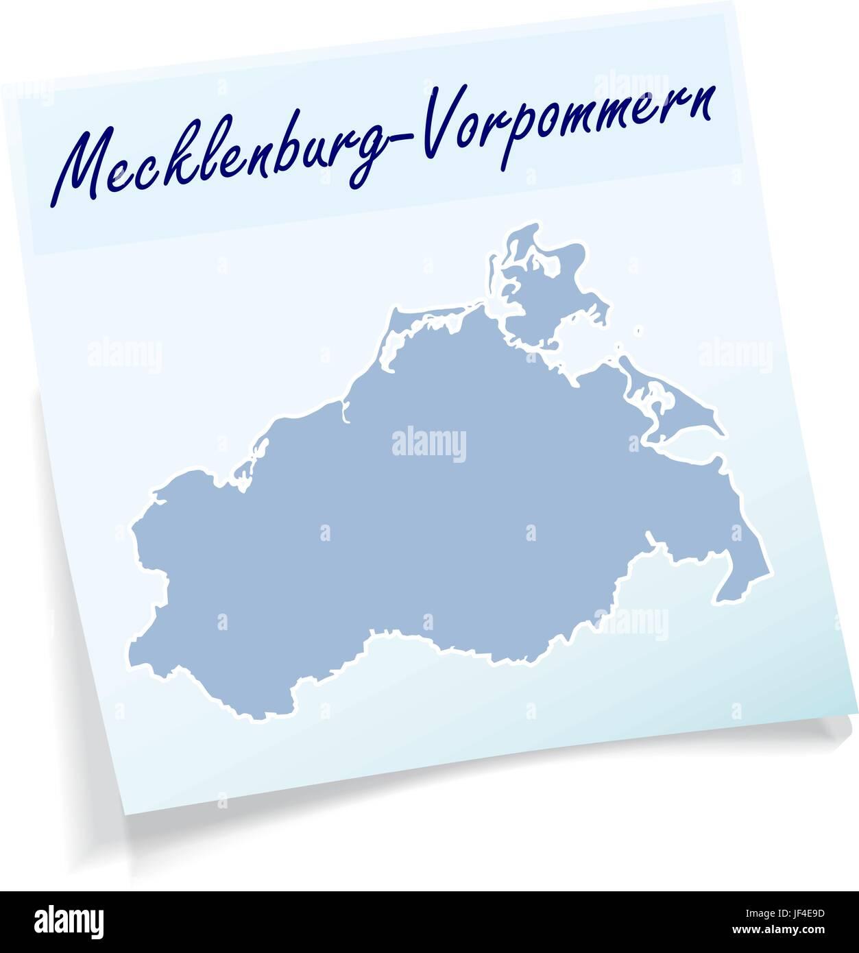 mecklenburg-vorpommern as notepad - Stock Image