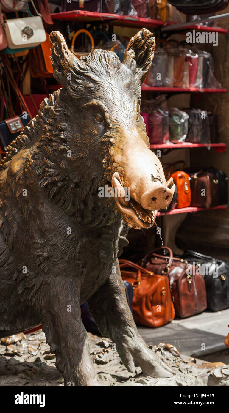 Bronze boar in Florence, Italy. - Stock Image