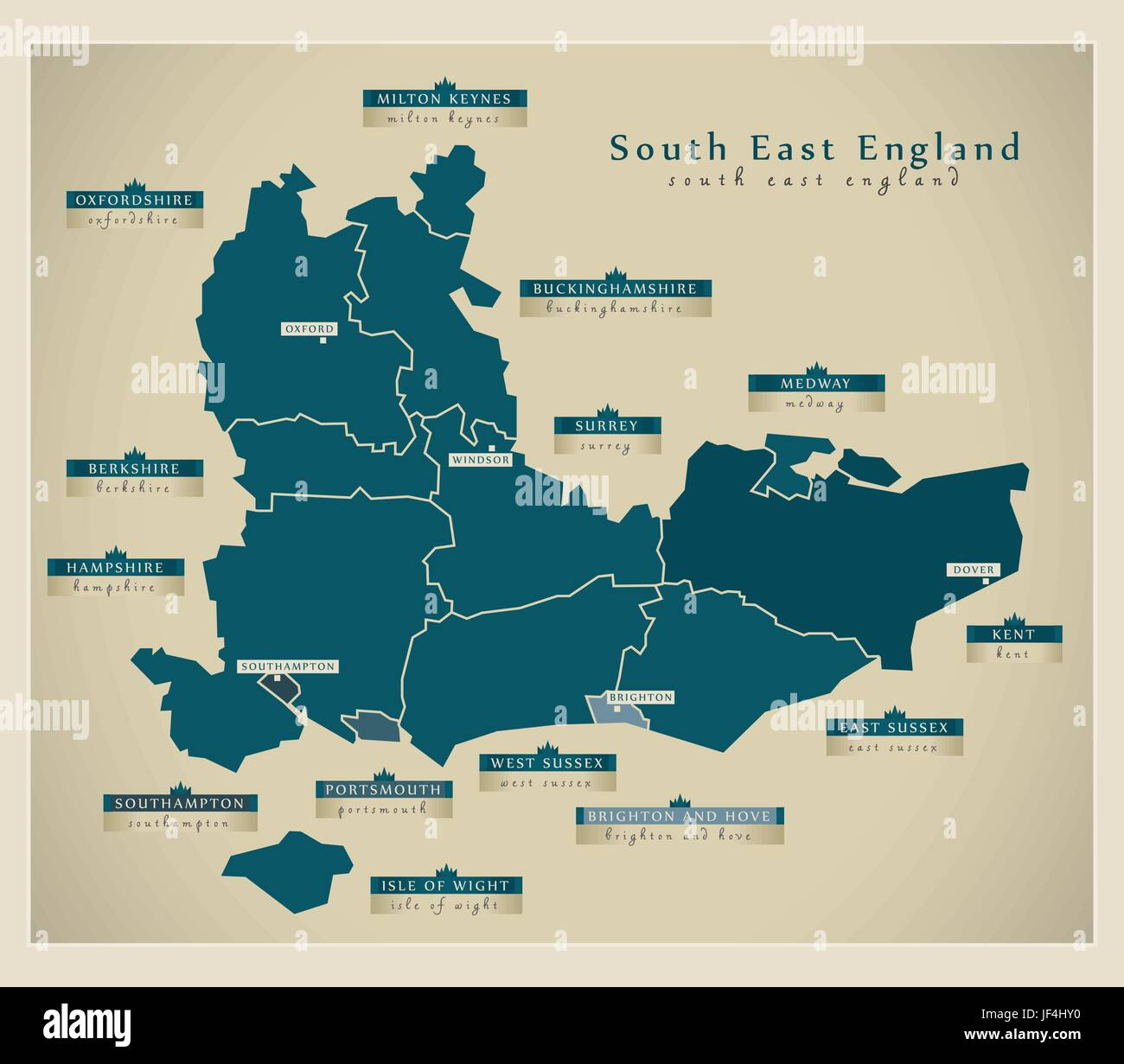 South Of England Map Uk.Modern Map South East England Uk Stock Vector Art Illustration