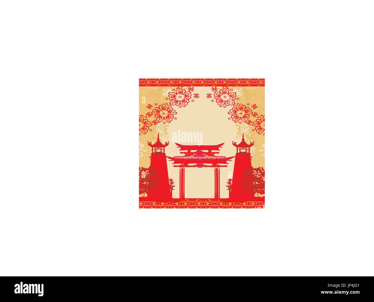 abstract card with asian buildings,vintage frame - Stock Image