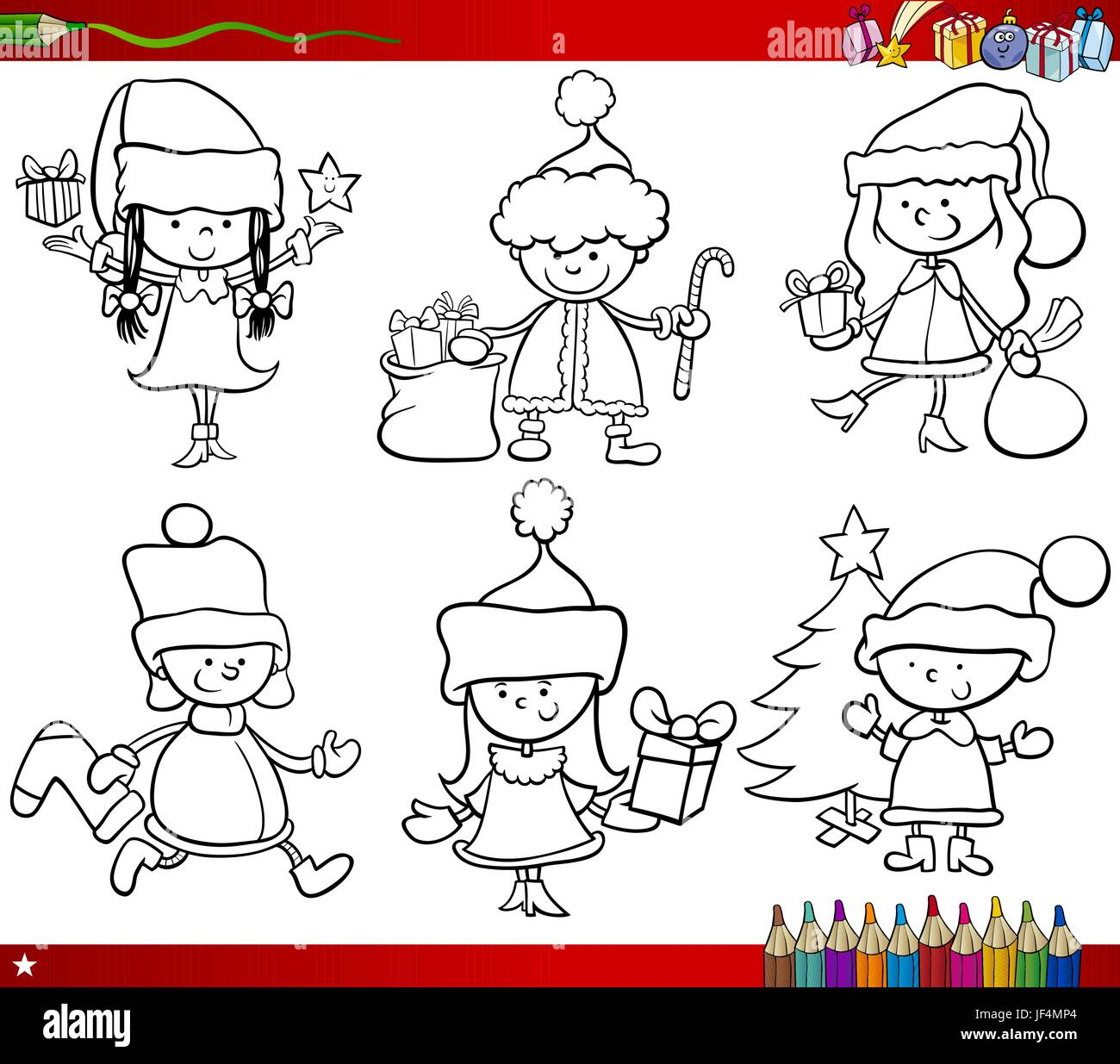 illustration, christmas, page, bookpage, cartoon, book, xmas, x-mas, laugh, Stock Vector