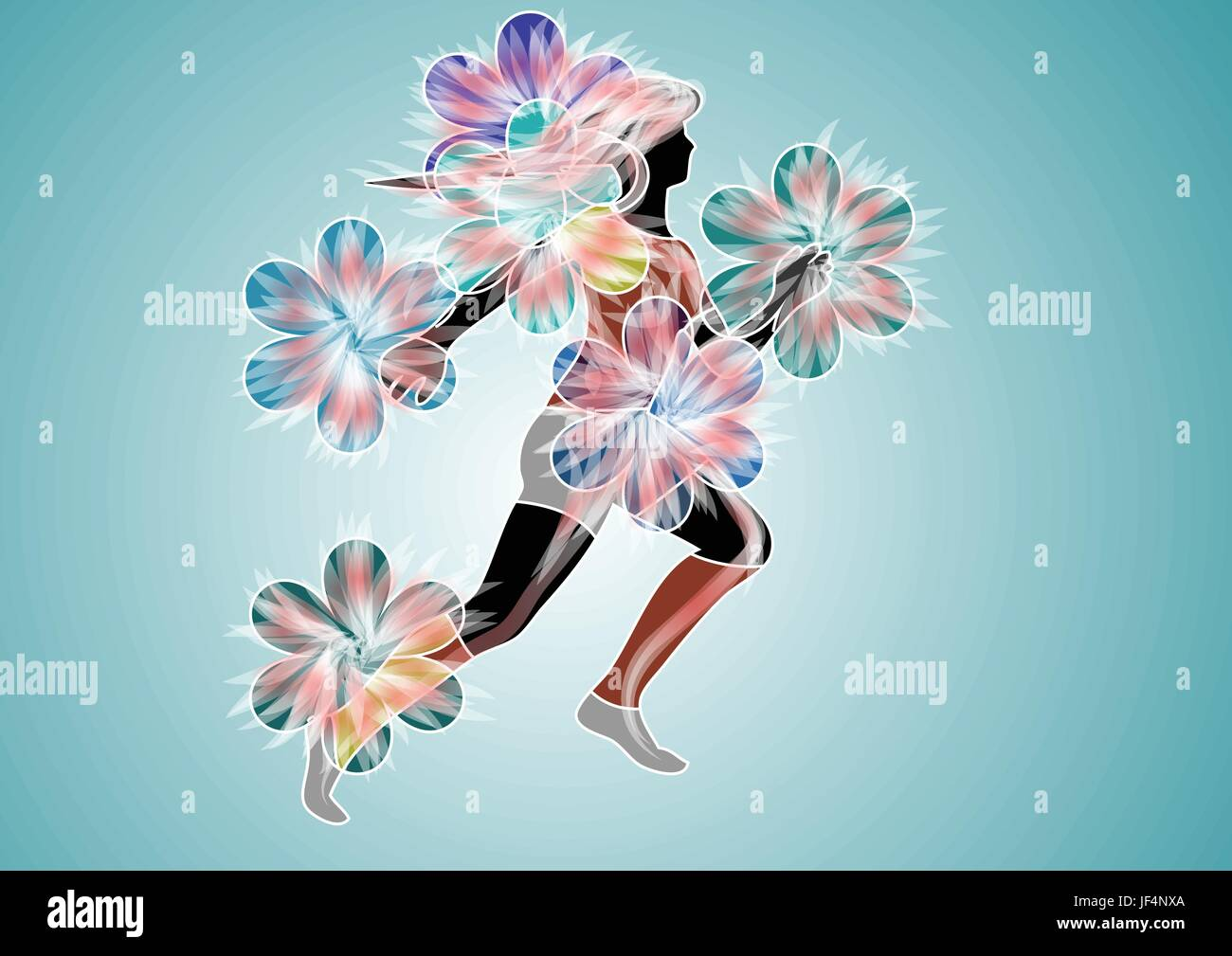 woman, sport, sports, summer, summerly, energy, power, electricity, electric - Stock Vector