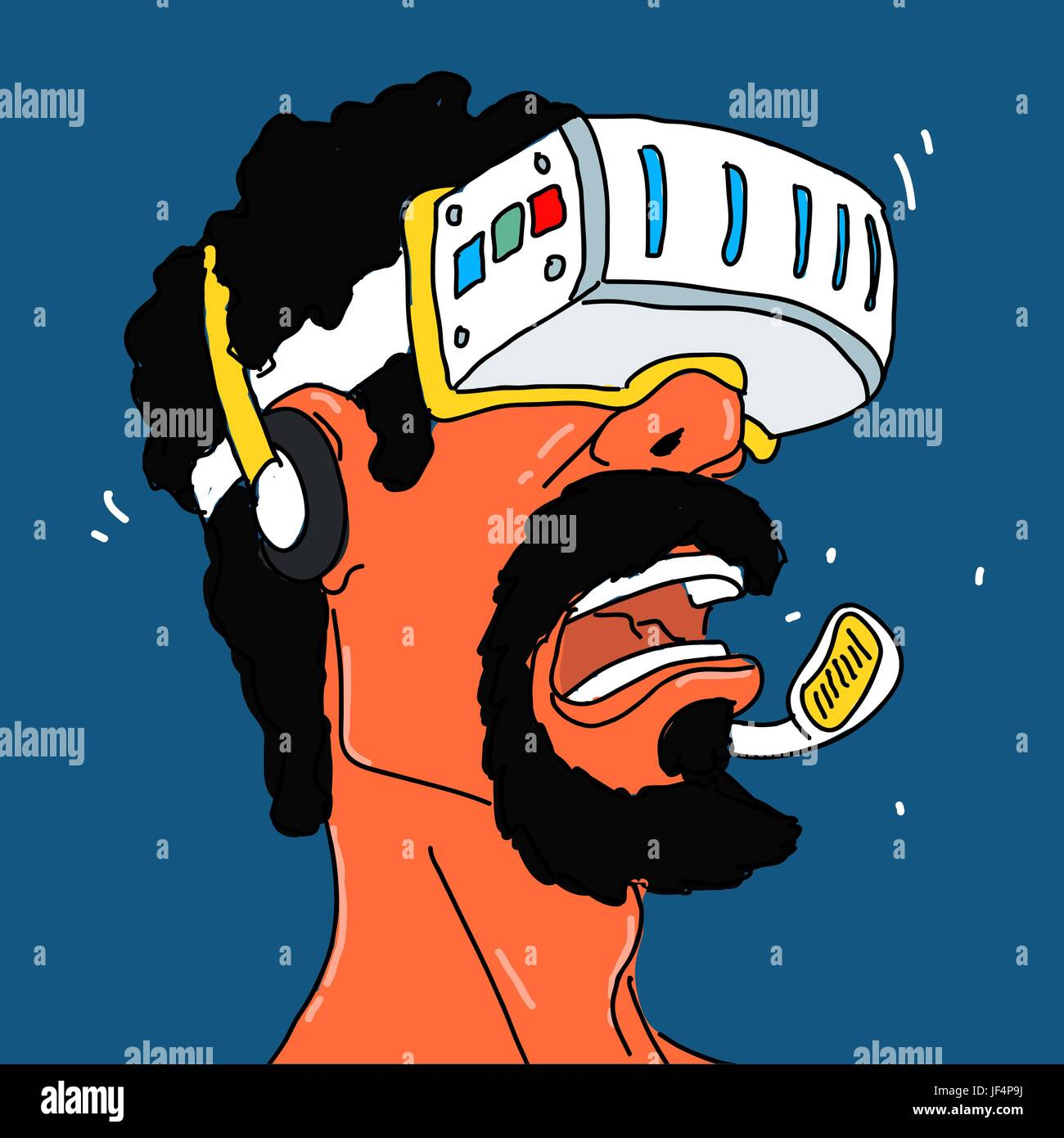 Helmet of Virtual Reality Vector Illustration - Stock Image