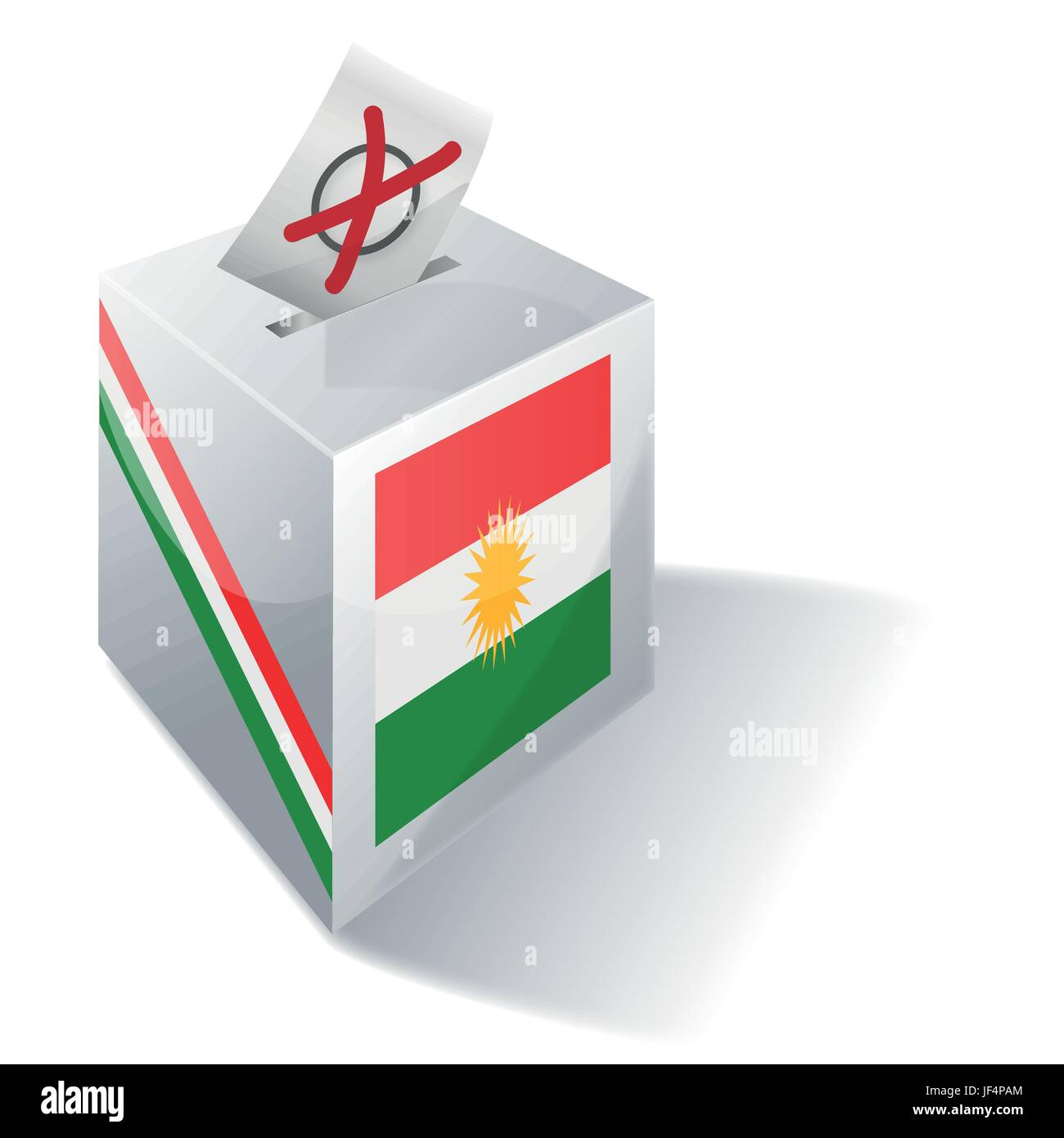 choose, elections, kurdish, social, cross, freedom, liberty, urns, flag, vote, - Stock Image