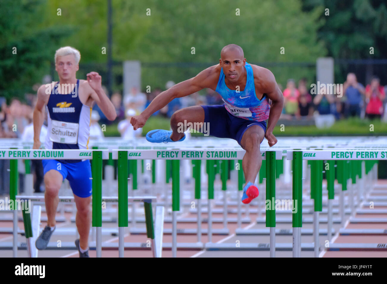 Coquitlam, British Columbia, Canada. 28th June, 2017. Damian Warner easily claims the 110m hurdles victory on Wednesday - Stock Image