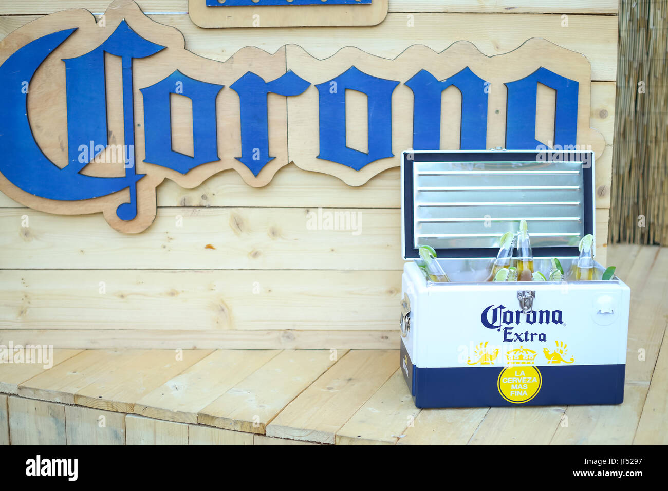 Zagreb, Croatia. 28th June, 2017.  Corona Sunsets Session party on the roof of Zagreb Dance Center in center of - Stock Image