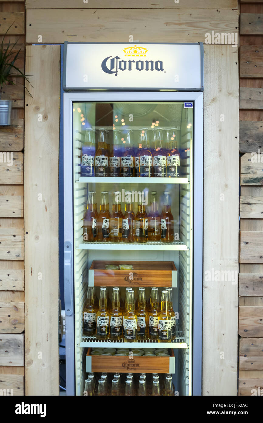 Zagreb, Croatia. 28th June, 2017.  Fridge full of Corona beers in the bar on the Corona Sunsets Session party on - Stock Image