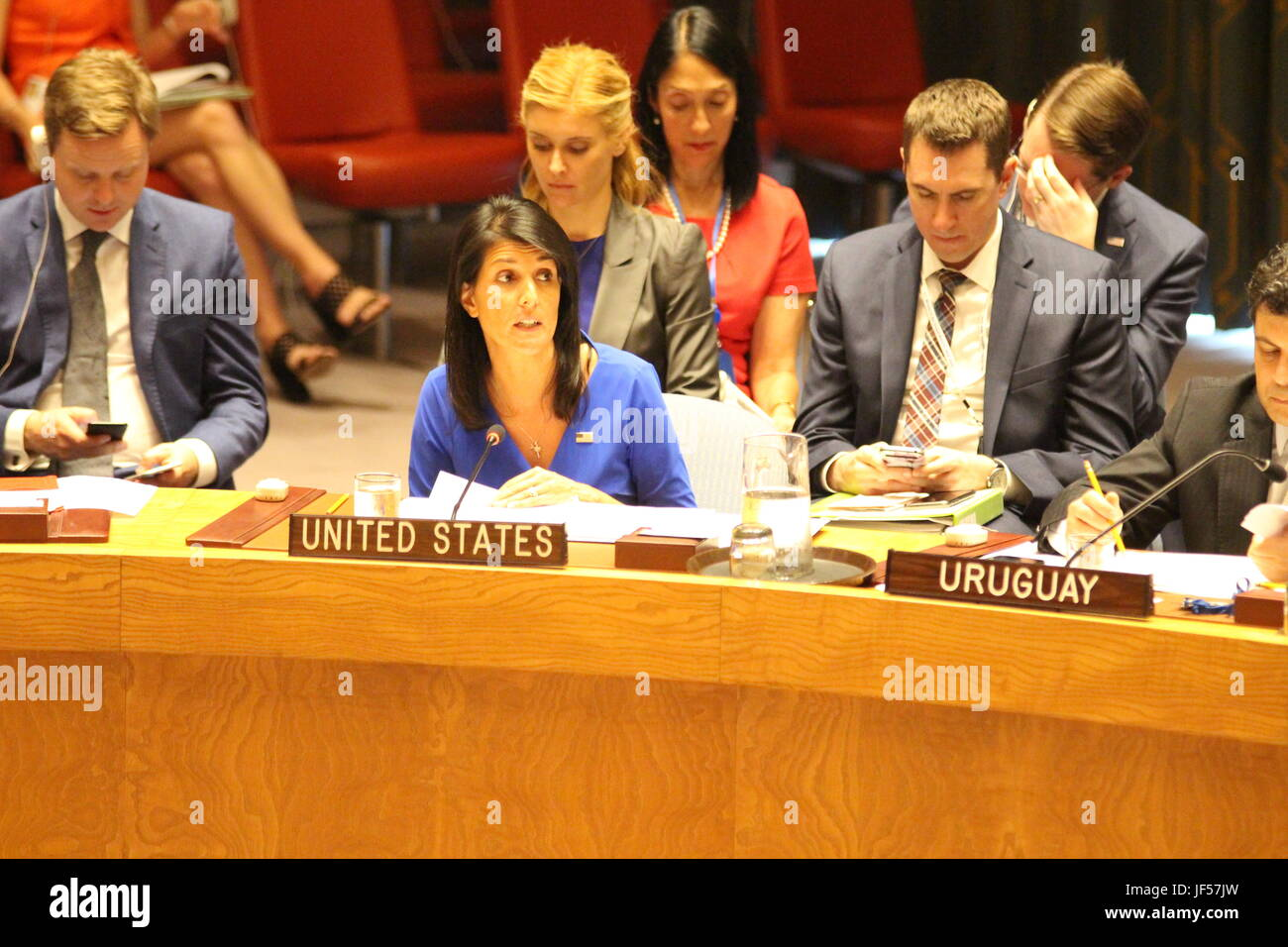 UN, New York, USA. 29th June, 2017. US Ambassador Nikki Haley criticized Iran in the UN Security Council, making - Stock Image