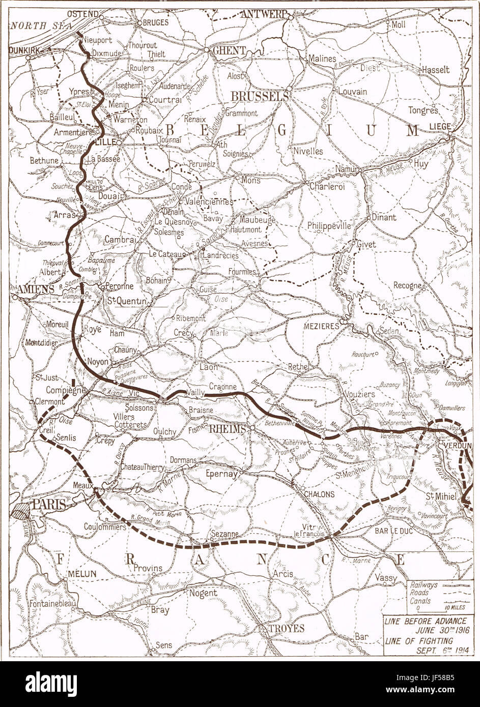 Western Front map, Somme offensive, 1916 - Stock Image