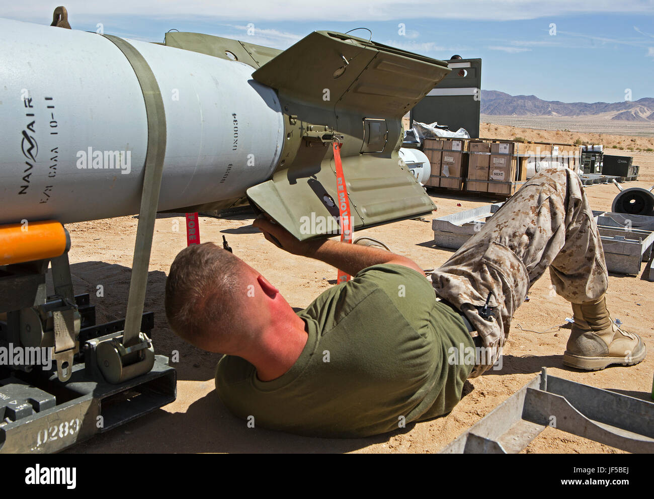 Marines with 3rd Marine Aircraft Wing assemble ordnance during Integrated Training Exercise (ITX) 3-17 at Marine Stock Photo