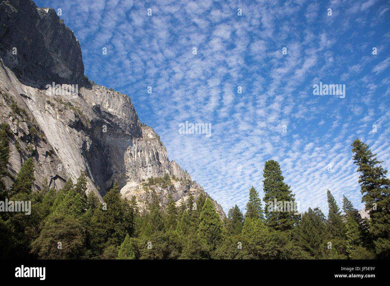Clouds fill a bright blue sky over the Yosemite Valley. - Stock Image