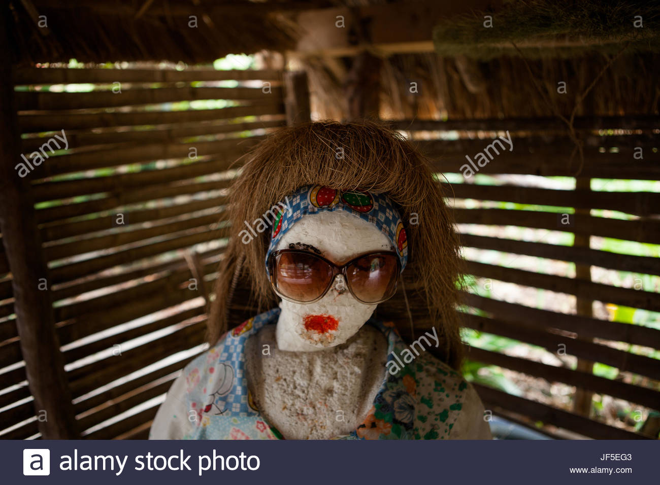 A makeshift mannequin sporting a vakul, headwear worn by Ivatans to protect themselves from rain and cold weather. - Stock Image
