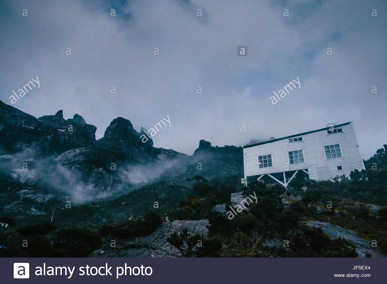 At the halfway point on Mount Kinabalu, where climbers can eat and rest. - Stock Image