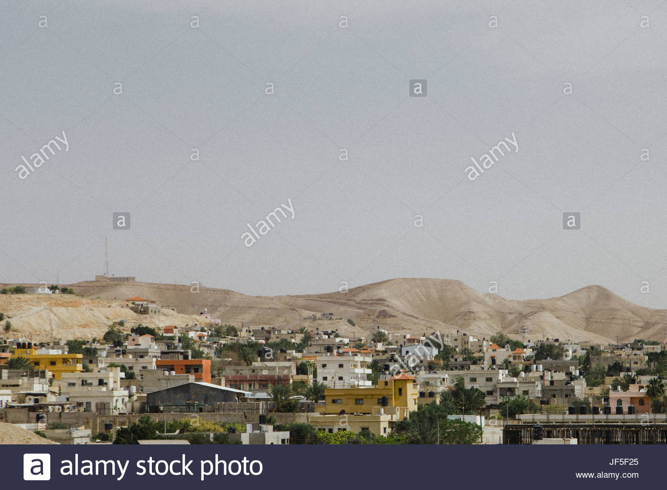 A view of housing and establishments near Jericho. - Stock Image