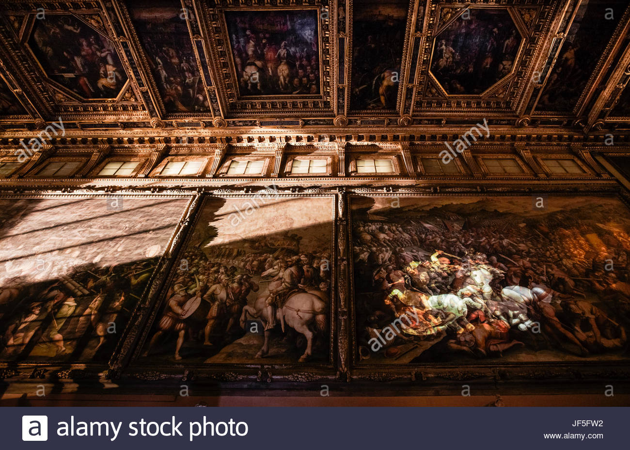 A copy of the Battle of Anghiari is projected onto the part of the wall behind which scientists hope the Leonardo - Stock Image