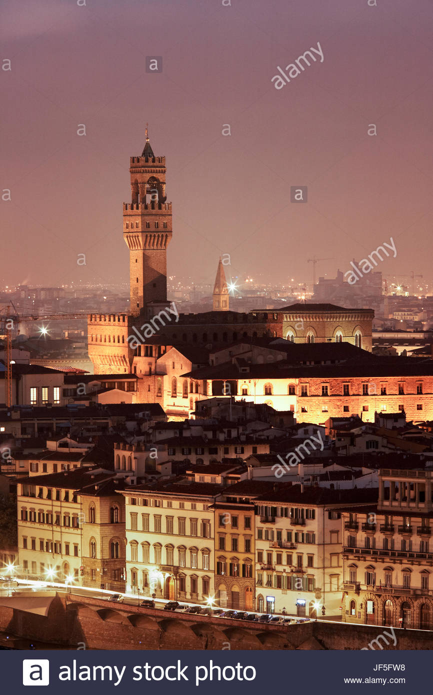 The tower of the Palazzo Vecchio rises about the city scape of Florence, Italy. - Stock Image