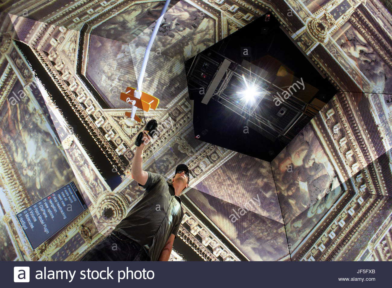 The StarCAVE at University of California in San Diego, is used to visualize the inside of Palazzo Vecchio's - Stock Image