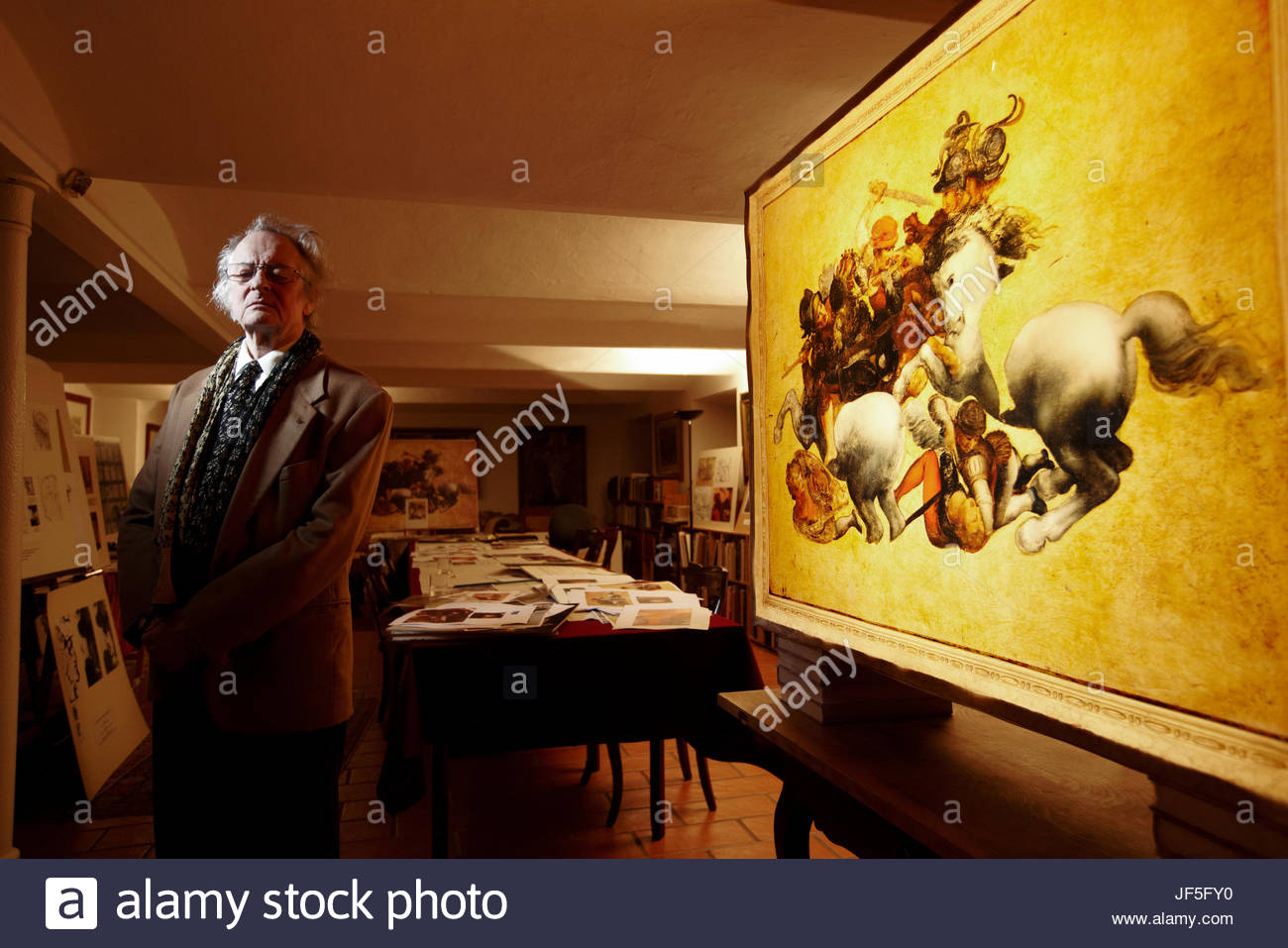 Dr. Friedrich Piel, a German art historian, believes that a copy of Leonardo da Vinci's lost wall painting, - Stock Image